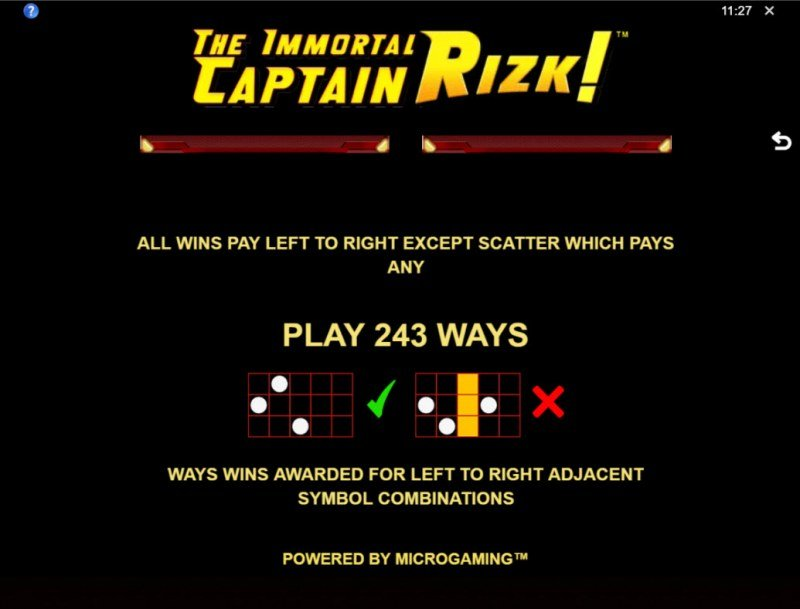 The Immortal Captain Rizk! :: 243 Ways to Win