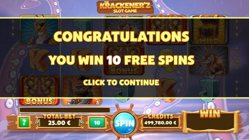 The Krackener'z :: 10 Free Spins Awarded