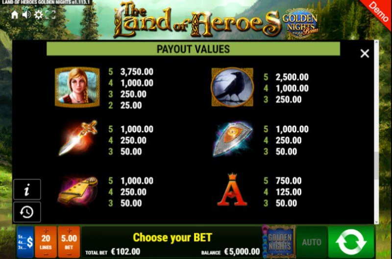 The Land of Heroes Golden Nights Bonus :: Paytable - High Value Symbols