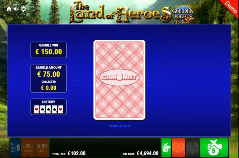 The Land of Heroes Golden Nights Bonus :: Red or Black Gamble Feature