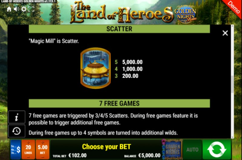 The Land of Heroes Golden Nights Bonus :: Free Spins Rules