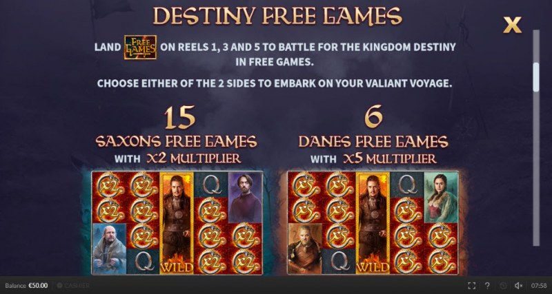 The Last Kingdom :: Free Spins Rules