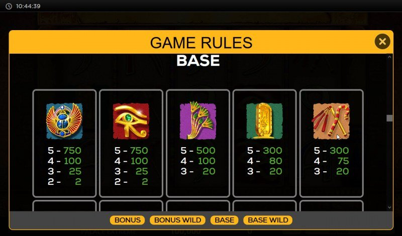 The Legacy of Cleopatra's Palace Extreme :: Paytable - High Value Symbols