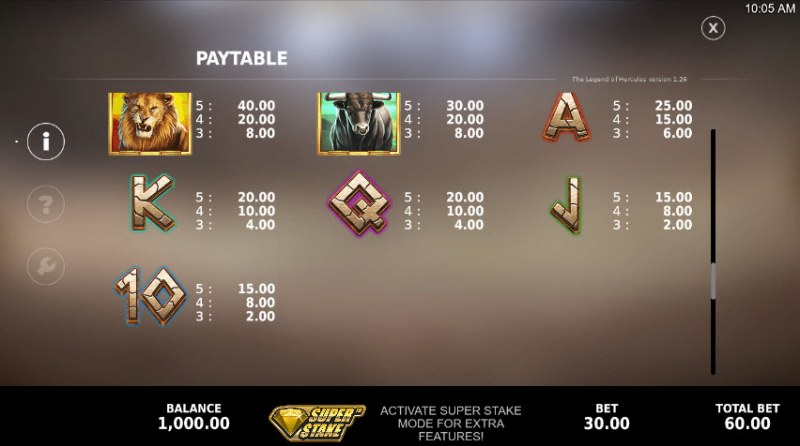 The Legend of Hercules :: Paytable - Low Value Symbols