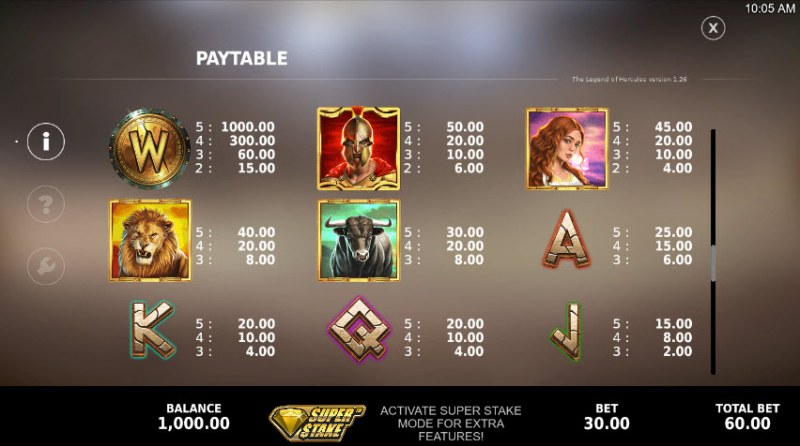 The Legend of Hercules :: Paytable - High Value Symbols