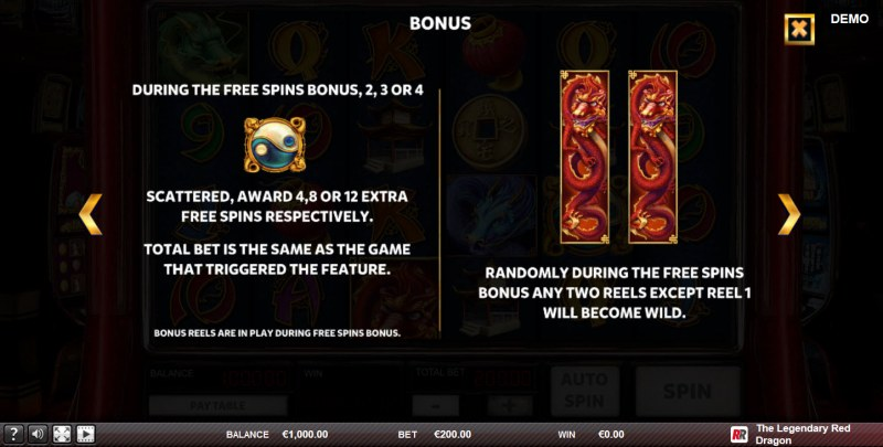 The Legendary Red Dragon :: Free Spins Rules