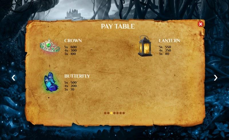 The Lost Princess :: Paytable - Medium Value Symbols