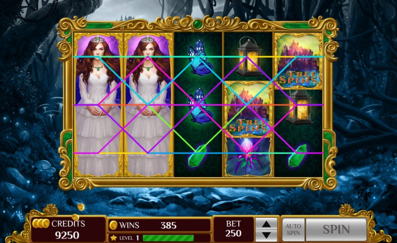 The Lost Princess :: Stacked wild symbols triggers multiple winning paylines