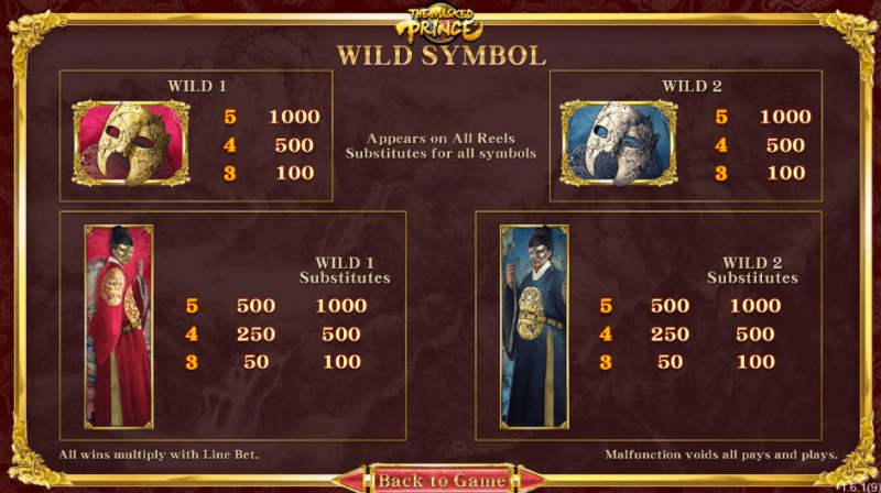 The Masked Prince :: Wild Symbols Rules