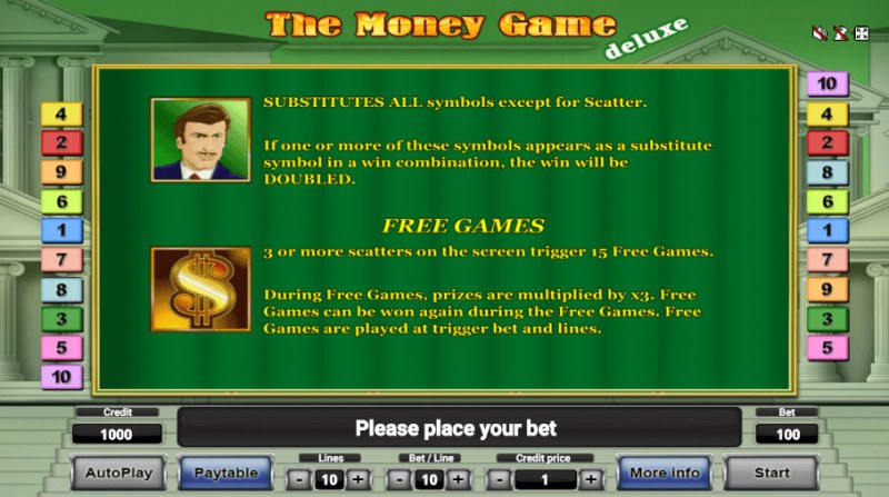 The Money Game Deluxe :: Wild and Scatter Rules