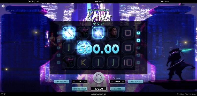 The Neon Samurai Kawa :: A three of a kind win