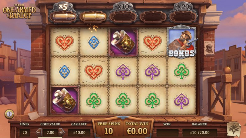 The One Armed Bandit :: Free Spins Game Board