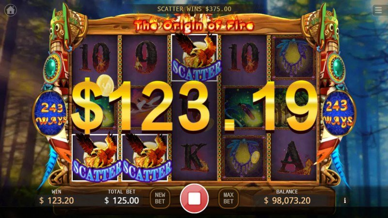 The Origin of Fire :: Scatter symbols triggers the free spins feature