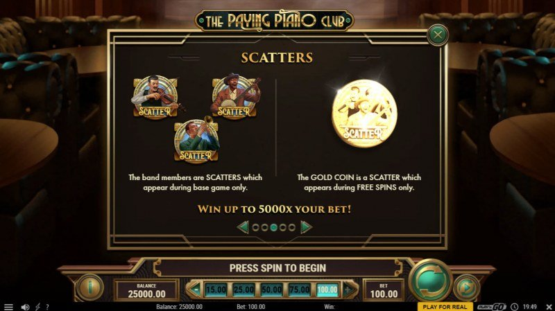 The Paying Piano Club :: Scatter Symbol Rules
