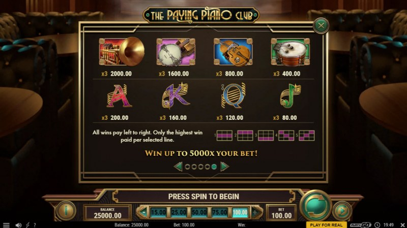 The Paying Piano Club :: Paytable