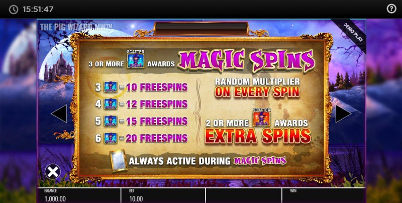 The Pig Wizard Megaways :: Free Spins Rules