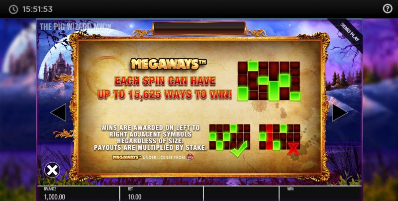 The Pig Wizard Megaways :: Up to 15625 Ways to Win with Megaways