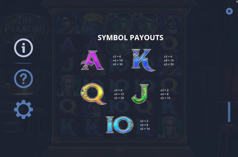 The Prancing Pony :: Paytable - Low Value Symbols
