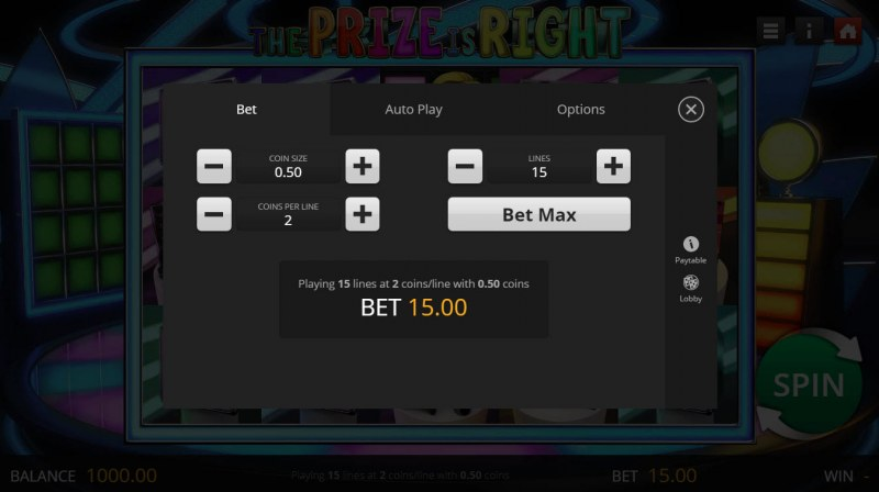 The Prize is Right :: Available Betting Options