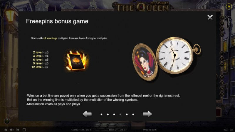 The Queen of Spades :: Free Spins Rules