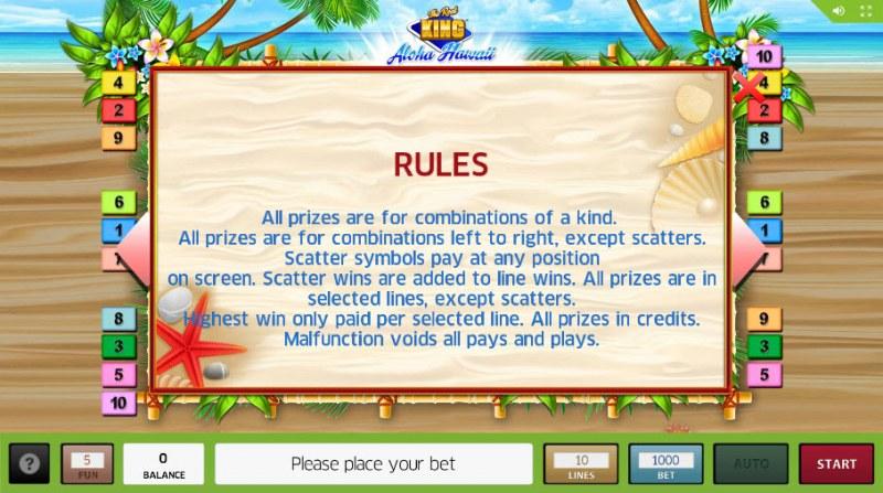 The Reel King Aloha Hawaii :: General Game Rules