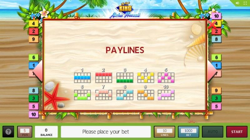 The Reel King Aloha Hawaii :: Paylines 1-10