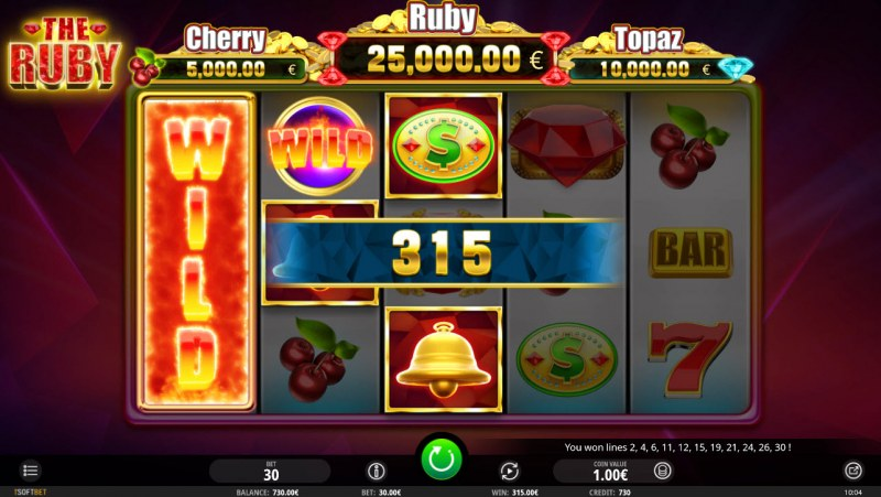 The Ruby :: Stacked wild symbol triggers multiple winning paylines
