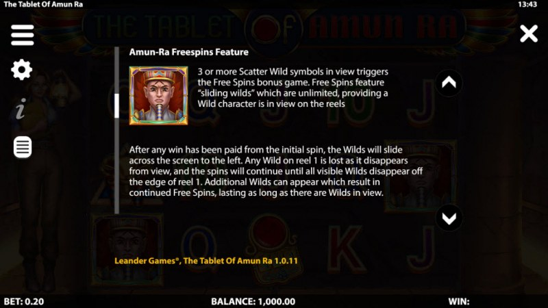 The Tablet of Amun Ra :: Free Spin Feature Rules