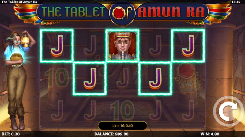 The Tablet of Amun Ra :: Multiple winning paylines
