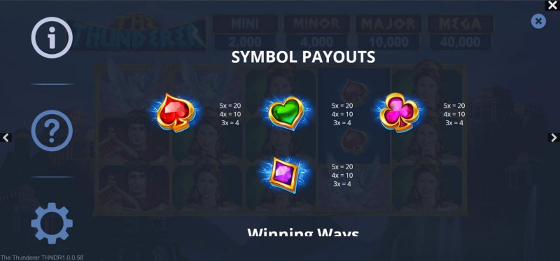 The Thunderer :: Paytable - Low Value Symbols