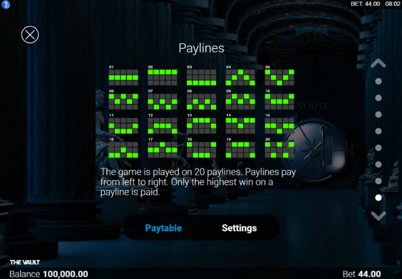 The Vault :: Paylines 1-20