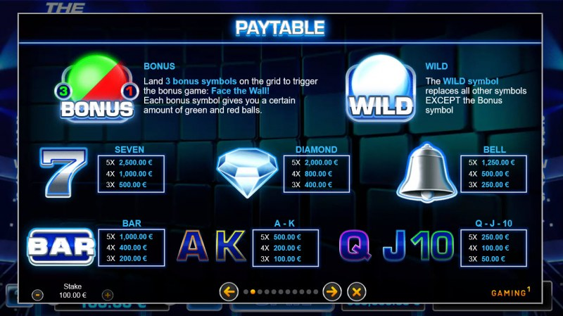 The Wall :: Paytable