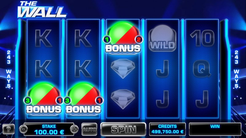 The Wall :: Scatter symbols triggers bonus feature