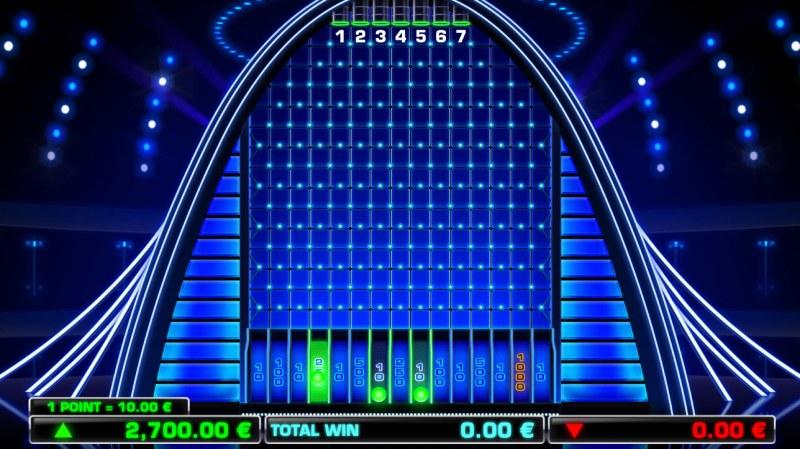 The Wall :: Green balls will fall into slots and award a potential cash award
