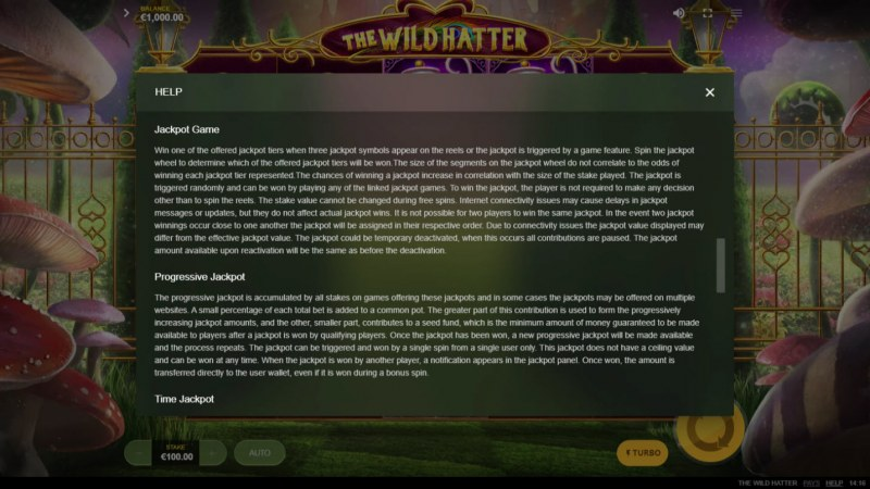 The Wild Hatter :: Jackpot Rules