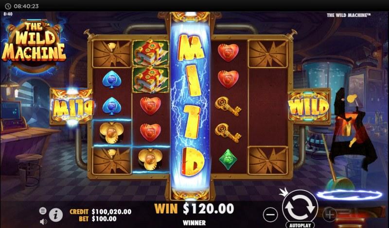 The Wild Machine :: Stacked wild symbols triggers multiple winning paylines