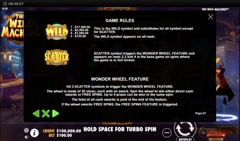 The Wild Machine :: Wild and Scatter Rules