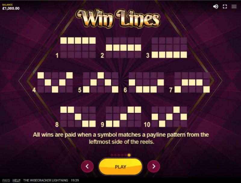 The Wisecracker Lightning :: Win Lines