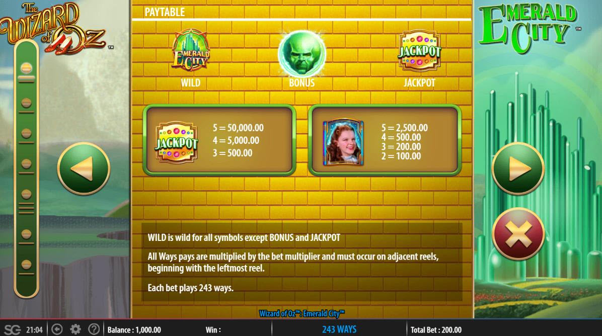Play slots at Trada: Trada featuring the Video Slots The Wizard of Oz Emerald City with a maximum payout of $250,000