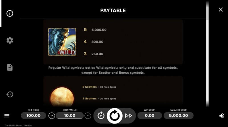Play slots at Pamper: Pamper featuring the Video Slots The Wolf's Bane with a maximum payout of $50,000
