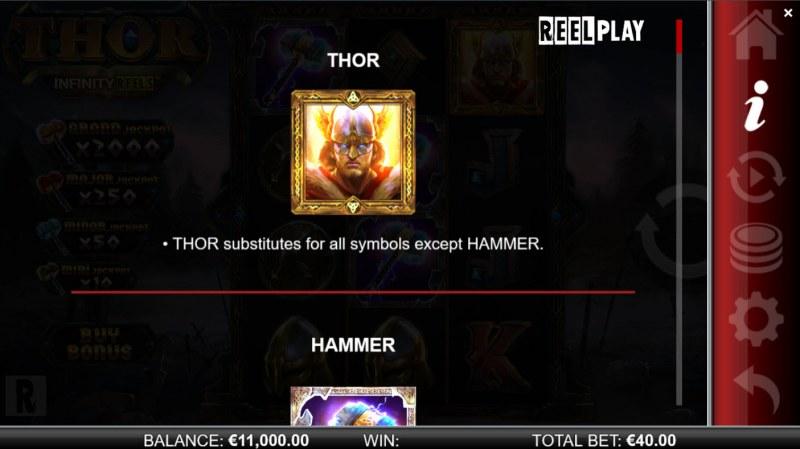Thor Infinity Reels :: Wild Symbol Rules