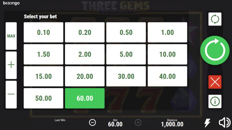 Three Gems Adjacent :: Select your bet