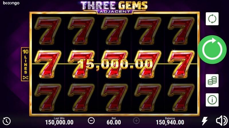 Three Gems Adjacent :: Multiple winning combinations lead to a big win