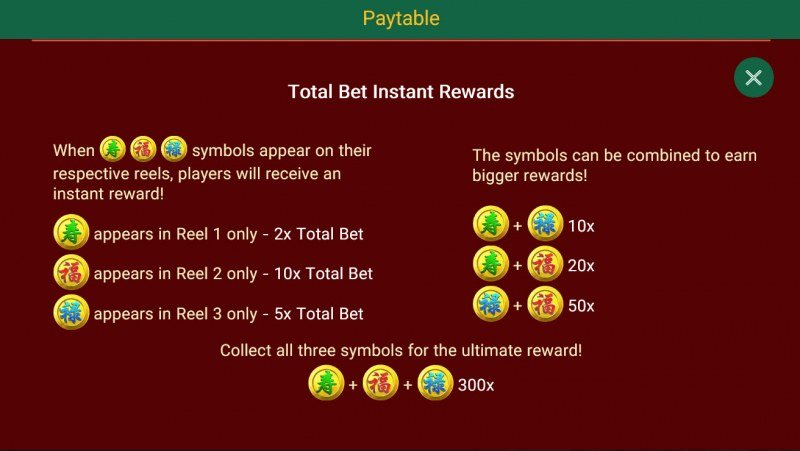 Three Lucky Stars :: Total Bet Instant Rewards