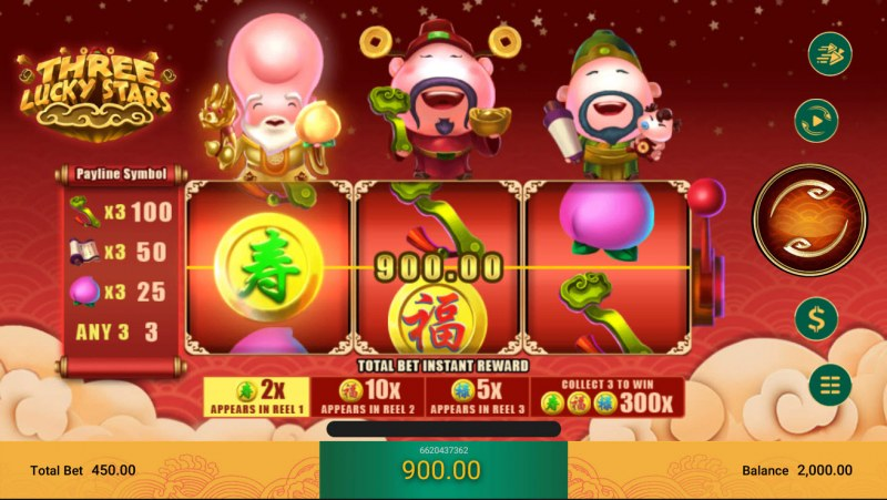 Three Lucky Stars :: Scatter Coin Win