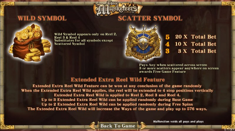 Three Musketeers :: Wild and Scatter Rules