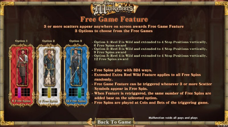 Three Musketeers :: Free Spins Rules
