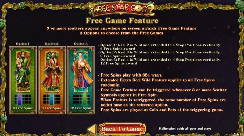Three Star God 2 :: Free Spins Rules