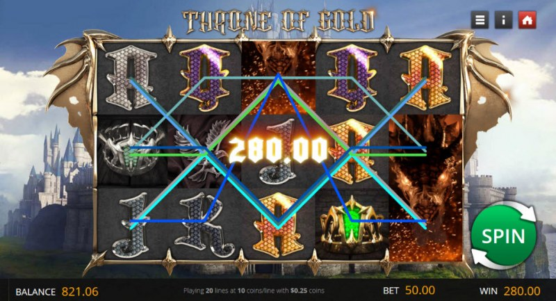 Throne of Gold :: Multiple winning paylines