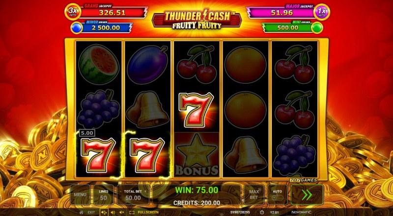 Thunder Cash Fruity Fruity :: A three of a kind win